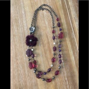 Two Tiered Purple Metallic Long Necklace